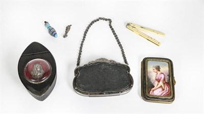 Lot 49 - A Collection of Items, comprising: a carved composition snuff-box, the hinged cover set with a...