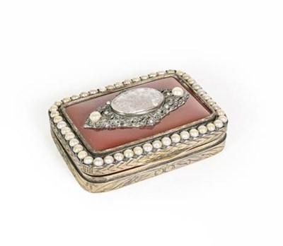 Lot 52 - A Gilt-Metal Snuff-Box, oblong, the hinged cover set with an agate panel and with a 'pearl' set...