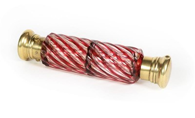 Lot 53 - A Brass-Mounted Glass Double Scent-Bottle, the ruby glass body spiral-twisted, with one hinged...