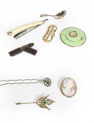 Lot 55 - Eight Various Items, including: a George III Silver Fiddle, Thread and Shell pattern caddy-spoon; a