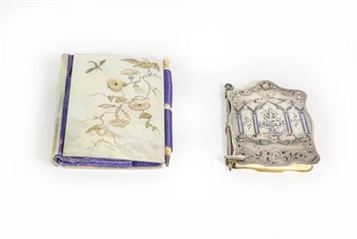 Lot 56 - A Victorian Silver and Enamel Aide Memoire and a Victorian Mother-of-pearl Aide Memoire, the...