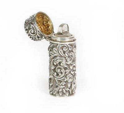 Lot 57 - A Victorian Silver Scent-Bottle, by Sampson Mordan and Co., London, 1889, cylindrical, the...
