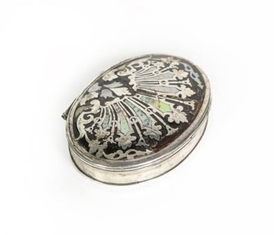 Lot 60 - A George II Silver and Mother-of-Pearl Inlaid Tortoiseshell Box, Apparently Unmarked, Circa...