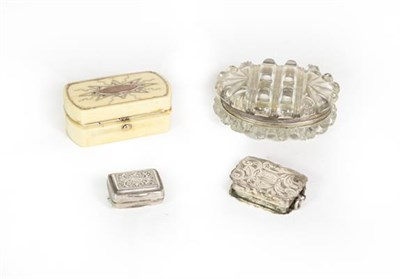 Lot 62 - Four George IV and Later Silver, Gilt-Metal Mounted Cut-Glass or Ivory Vinaigrettes, The Silver...