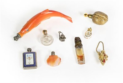 Lot 67 - A Collection of Various Silver or Metal-Mounted Scent-Bottles, including: a ceramic example in...