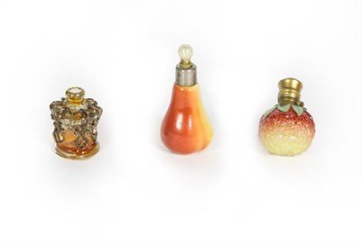 Lot 69 - Two Metal-Mounted Ceramic Scent-Bottles, one formed as a strawberry, the other as a pear;...
