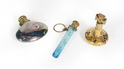 Lot 70 - Three Glass Scent-Bottle, one of cylindrical blue glass, enameled with foliage and flowers; another