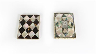 Lot 72 - Two Victorian Card-Cases, each oblong, with decorated with abalone shell and mother-of-pearl...