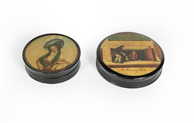 Lot 73 - Two Victorian Papier Mache Snuff-Boxes, each circular and with pull-off cover, the cover of one...