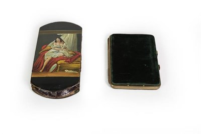 Lot 74 - A Victorian Papier Mache Cheroot-Case, shaped oblong, the cover painted on one side with a lady...