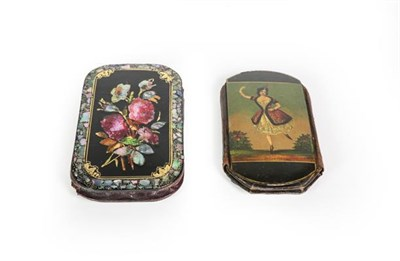 Lot 75 - Two Victorian Papier Mache Cheroot-Cases, each shaped oblong, one painted on one side with a...