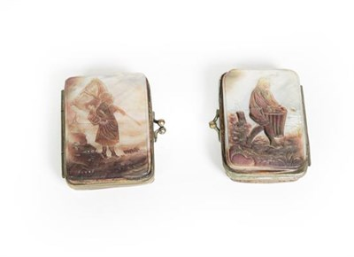 Lot 76 - Two Belgian Metal-Mounted Mother-of-Pearl Purses, each oblong, the cover of each with a...