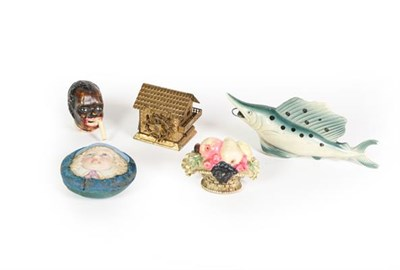 Lot 77 - Four Various Novelty Measuring-Tapes, one formed as a male head, the tape revealed by pulling...
