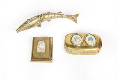 Lot 80 - Two brass or brass finish snuff-boxes and an articulated fish ornament, the snuff-boxes each...