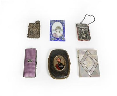 Lot 82 - A collection of various metal mounted cases, including: one with a portrait of Napoleon III on...
