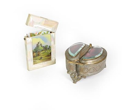 Lot 84 - A Victorian mother-of-pearl card-case, oblong, the frong with a depiction of Launceston Castle,...