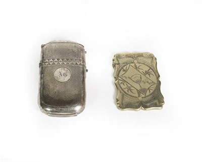 Lot 85 - A silver plate cheroot-case and a metal card-case, the first oblong and with engine turned...