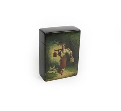 Lot 87 - A Russian lacquer card-box, by Lukutin Factory, Moscow, oblong, the front painted with a scene of a