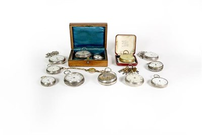 Lot 89 - Eight silver open faced pocket watches, enamel dialled wristwatch, movement signed Rolex (case back
