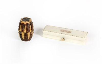 Lot 90 - A Georgian pique decorated bone toothpick case and a Tunbridgeware barrel shaped thread waxer (2)