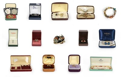 Lot 94 - A regimental brooch, stamped '9CT', length 4.8cm; a 9 carat gold cameo ring and brooch; two...