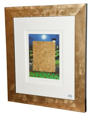 Lot 1002 - Mackenzie Thorpe (b.1956) ''Golden Sheep'' Signed, inscribed and numbered 137/2000, a colour...