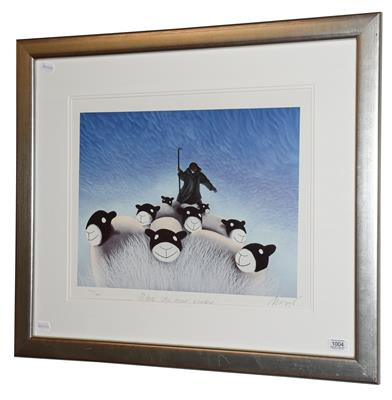 Lot 1004 - After Mackenzie Thorpe (b.1956) ''Blue Skies Over Winter'' Signed, inscribed and numbered 773/850,a