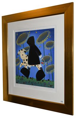 Lot 1005 - Mackenzie Thorpe (b.1956) ''Walking the Fish'' Signed, inscribed and numbered AP 44/65, a...
