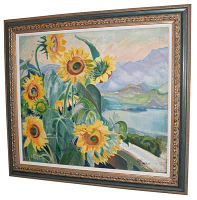 Lot 1010 - Paula Fischer (1873-1950) ''Italian Landscape with Sunflowers'' Signed, inscribed verso, oil on...