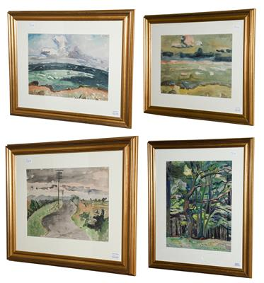 Lot 1011 - Paula Fischer (1873-1950) Woodland landscape Signed, watercolour, together with three further...