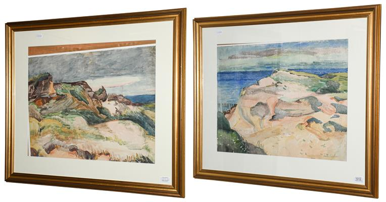 Lot 1012 - Paula Fischer (1873-1950) Sand dunes Signed, watercolour, together with another landscape by...