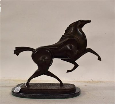 Lot 1014 - French School (20th/21st century) Galloping horse Bronze on a marble base, 38.5cm high