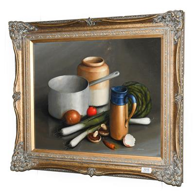 Lot 1015 - George Reekie (20th/21st century) Still life of assorted vessels and vegetables Signed, oil on...