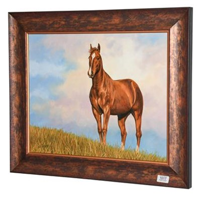 Lot 1017 - David Stribbling (Contemporary) Chestnut horse in a landscape Signed, oil on canvas, 40cm by 49.5cm