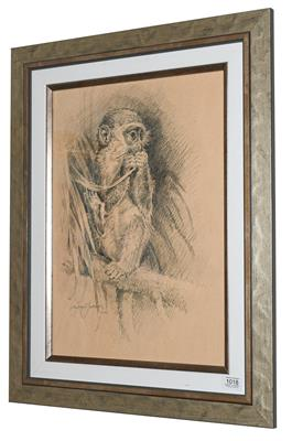 Lot 1018 - Michael Jackson (Contemporary) Study of a monkey Signed and dated 2011, pencil, 49cm by 35cm...