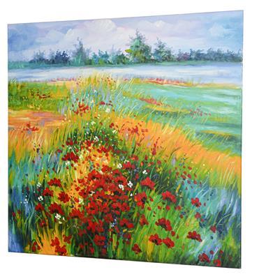 Lot 1027 - Contemporary School Poppy fields Oil on canvas, 95.5cm by 95.5cm