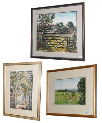 Lot 1029 - A J Makinson (Contemporary) Landscape with cattle Signed, watercolour, together with another...