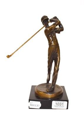 Lot 1031 - * Kim B (Contemporary) Golfer Signed, bronze on a composite base, 24cm high  Artist's Resale...