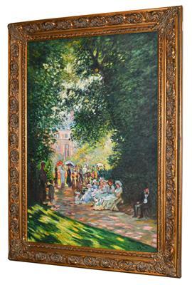 Lot 1033 - Sergio Ugho after Claude Monet ''Parigini al Parc-Monceaux'' Signed Claude Monet, inscribed...