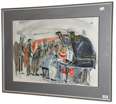 Lot 1035 - Michael Gibbison (b.1937)  ''Jazz Party''  Signed, watercolour, 51cm by 71cm  Artist's Resale...