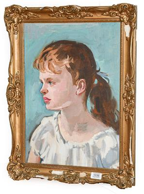 Lot 1036 - Philip Naviasky (1894-1983) 'Study of a young girl' Signed, oil on board, 49cm by 34.5cm...