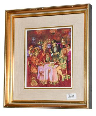 Lot 1037 - Pat Cooke (1935-2000)  ''The Little Lad Will Have Syllabub''  Signed, inscribed and dated...