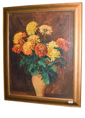 Lot 1038 - Philip Naviasky (1894-1983) Still life of orange and yellow flowers in a terracotta vase...
