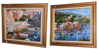 Lot 1040 - * O'Donnell (Contemporary) An Italian harbour scene Signed, oil on canvas, together with another by