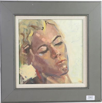 Lot 1041 - Tim Rose (Contemporary) Head Study of a lady Initialled, oil on board, 29cm by 29cm