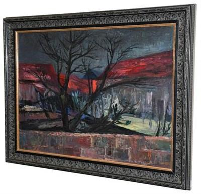 Lot 1047 - Violet Fuller (1920-2008) Landscape with black tree Signed and dated (19)57, oil on board, 54cm...