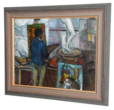Lot 1048 - Elizabeth Knapp (20th century) An artist in his studio Inscribed verso oil on canvas, 39.5cm by...
