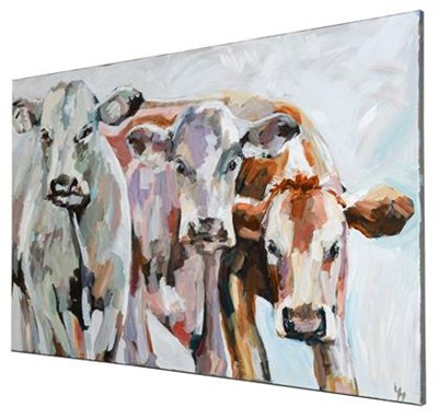 Lot 1051 - Lesley Heath (b.1966) Three cows Initialled, oil on canvas, 61cm by 91cm (unframed)  Artist's...