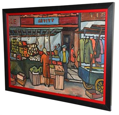 Lot 1053 - Christopher Stones (20th/21st century) ''Pettycoat Lane Fruit Market'' Signed, inscribed verso, oil