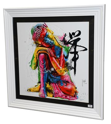 Lot 1056 - Patrice Murciano (Contemporary) Buddha Signed and dated 2012, mixed media, 66cm by 66cm...